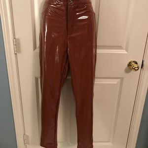 Pants - Vintage burnt orange patent leather pant